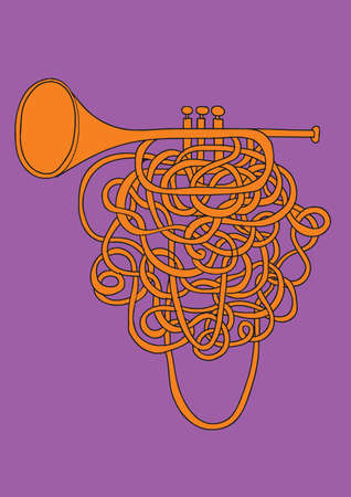 An illustrated orange abstract trumpet with a long valve and purple background