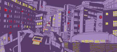 no skid: An illustration of Squeezed buildings by night