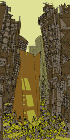 urbanite: An illustration of a busy city   tall buildings