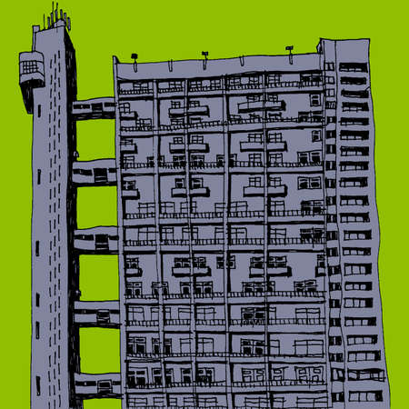 urbanite: An illustration of a  tower block scenery Stock Photo