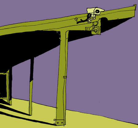 An illustration of a cctv camera located on top of building illustration