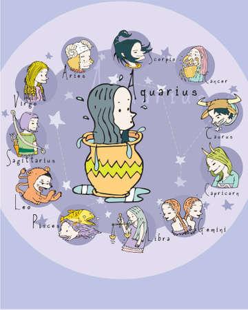 crystal gazing: Aquarius illustration