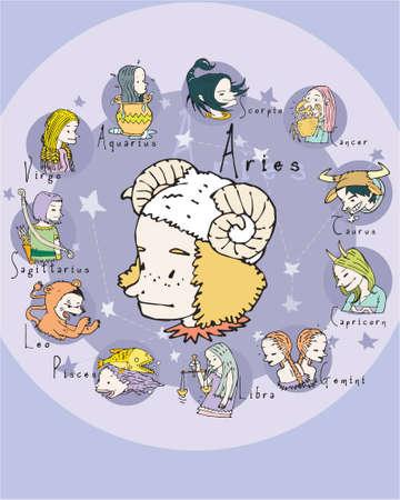 crystal gazing: Aries illustration