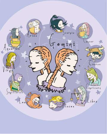 crystal gazing: Gemini illustration