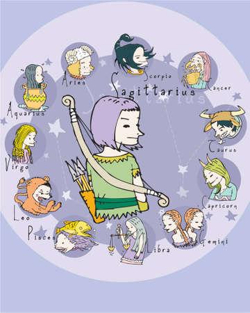 crystal gazing: Sagittarius illustration