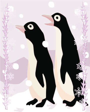 Penguins in a decorative illustration illustration
