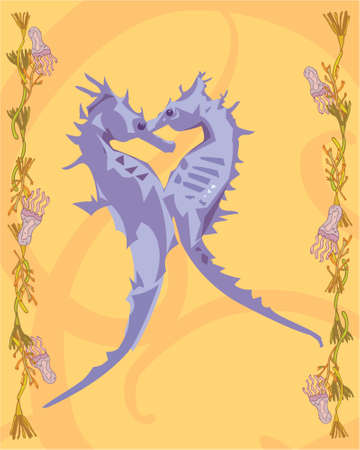 2 seahorses in a decorative illustration illustration