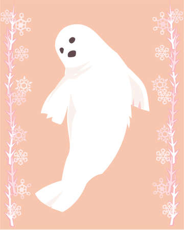 arctic waters: Arctic seal in a decorative illustration