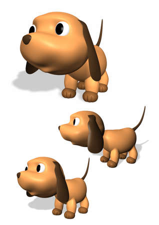 Three 3D dog illustrations Imagens