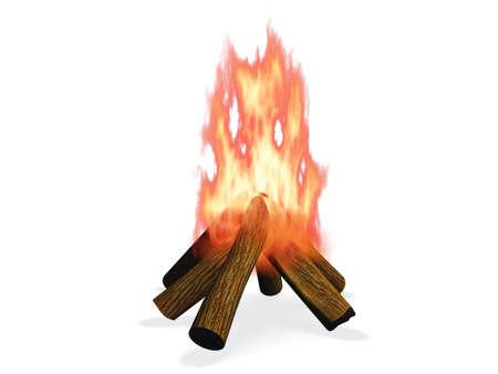 3D wood fire illustration Stock Illustration - 17066874