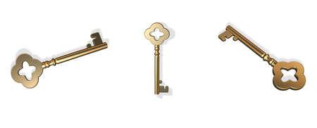 holed: Three 3D gold retro looking keys Stock Photo