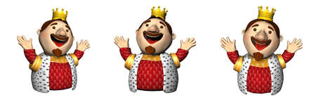 three kings: Three 3D king illustrations