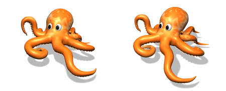 Two 3D octopus illustrations Stock Photo