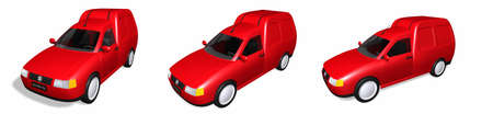 Three 3D red van illustrations  illustration