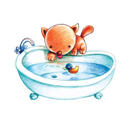 Un lindo gato se prepara un baño con un pato de juguete en ella Foto de archivo - 17131525