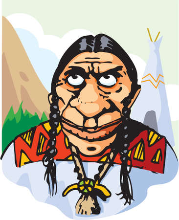 chieftain: An illustration of a red indian