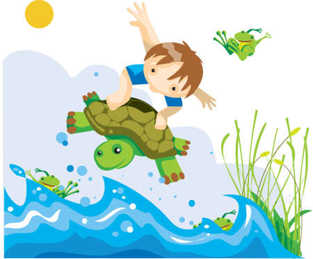 A little boy is on a flying tortoise over the sea photo