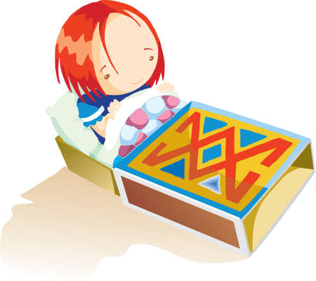 A cute girl is sitting on her matchbox bed photo