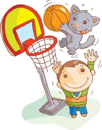 chaton en dessin anim�: Un chat, c'est marquer le point de basketball Banque d'images