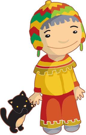 peruvian ethnicity: Chico local en ropa tradicional