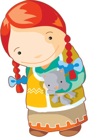 pocahontas: Red haired local indian girl is holding a kitten Stock Photo