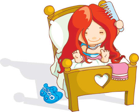 A cute red haired girl just woke up