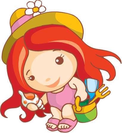 gir: A cute girl is going to beach with her beach toys