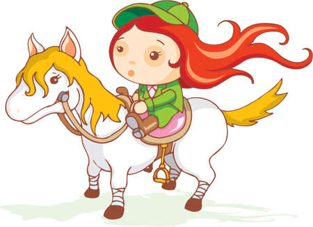 haired: A red haired cute jockey is sitting on a white pony