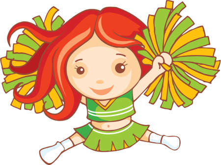 haired: Red haired cheer leader is dancing