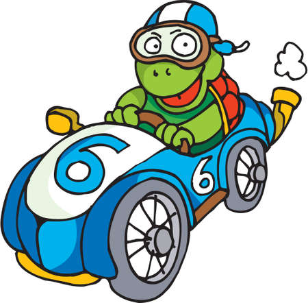 A tortoise is driving is an old race car photo