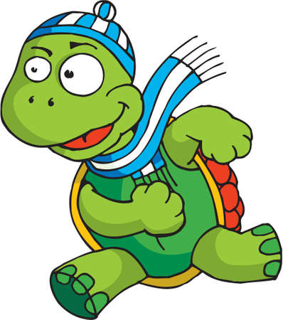 A tortoise is running with a wool hat and scarf