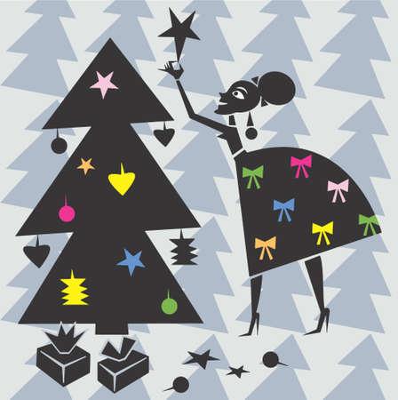 mamma: Woman decorates Xmas tree