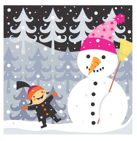 Boy and snowman photo