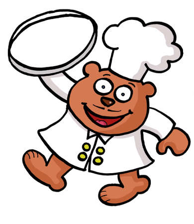 A cartoon bear chef is carrying an empty tray photo