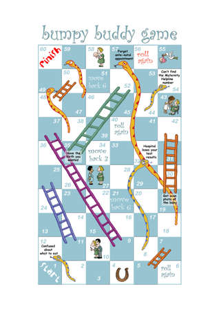 A Snakes and Ladders game design for pregnant women and nurses Stock Photo