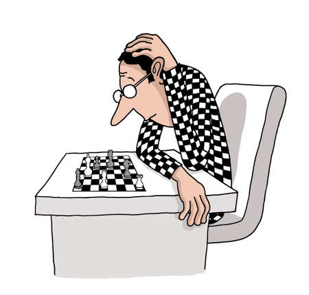 A chess player is thinking his next move in a chess board shaped clothing photo