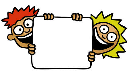 customisable: Two kids holding an empty board Stock Photo