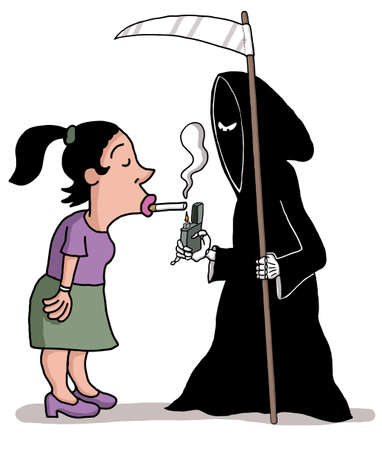 A death angel is lighting a woman s cigarette