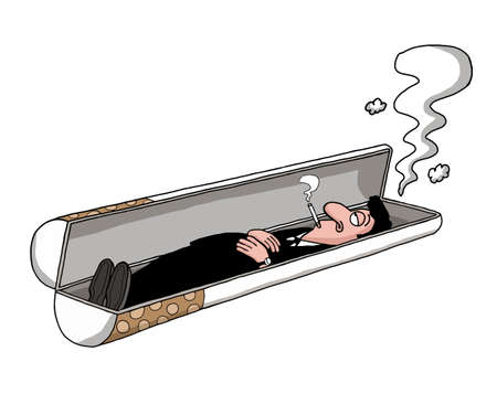 A man is lying in a cigarette shaped tomb and smoking