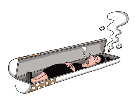 cigar smoking woman: A woman is lying in a cigarette shaped tomb and smoking