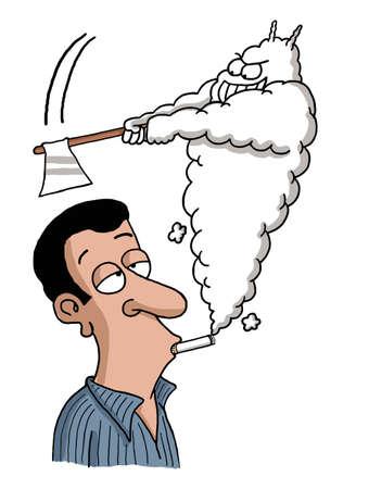 anti social: A smoke shaped devil is axing on a smoker man s head Stock Photo