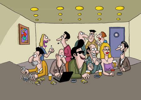 socializando: Un grupo de personas que están fumando y socializar en un bar Foto de archivo