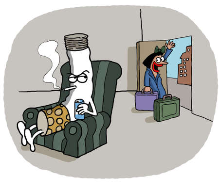 cigar smoking woman: A woman is leaving her lazy cigarette shaped husband