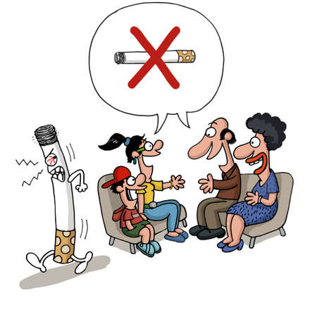 health cartoons: A family is meeting against smoking and a cigarette leaves the room angry