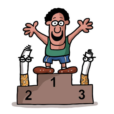 quit: A man who quit smoking and is on the medal podium as a winner over cigarettes