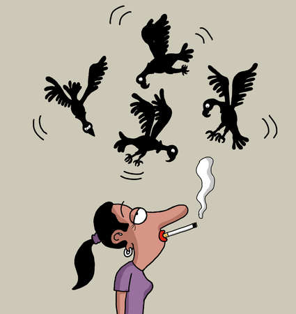 cigar smoking woman: Vultures are circling above the lady smoker