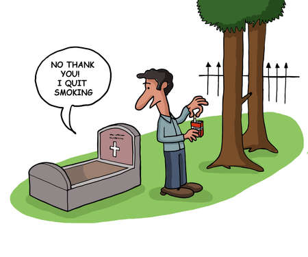 cigar smoking woman: A deceased person tells that he quit smoking in his grave Stock Photo