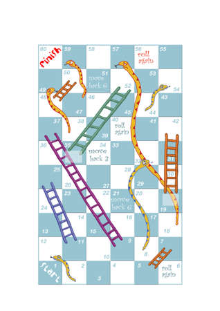 A customisable print and play snakes and ladders game design