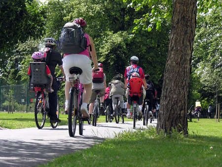 Group of cyclists in the park