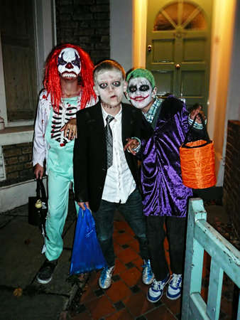 Three young Halloween boys Editorial